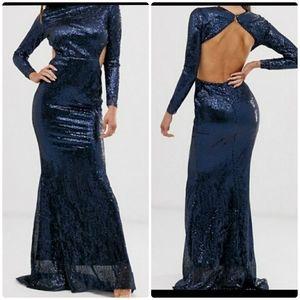 Club L Open Back Paiste Fishtail Sequin Maxi Dress